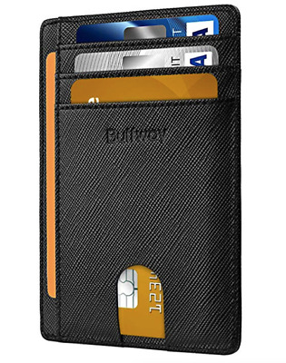 Slim Minimalist Front Pocket RFID Durable Leather Wallet for Men Women Stylish