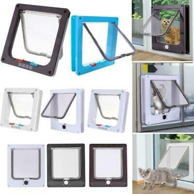 4 Way Lockable Dog Cat Flap Door Kitten Puppy Pets Plastic Security Gate S-XL