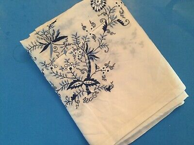Vintage Embroidered Tablecloth - Blue Flowers - Large