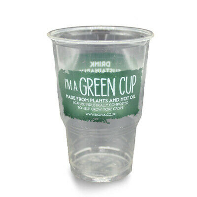 Biodegradable Compostable Clear Strong PLA Plastic 1 Pint Beer Glass Tumbler