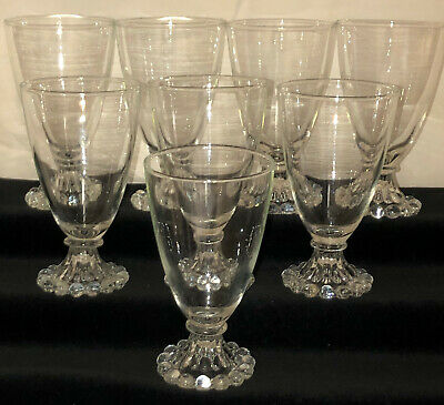 """8 Anchor Hocking BOOPIE CRYSTAL *5 1/4"""" 9 OZ WATER GOBLETS/TUMBLERS*"""
