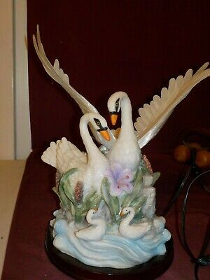 Beautiful Fiberoptic Large Pair Of White Swans On Wood Base No Brand