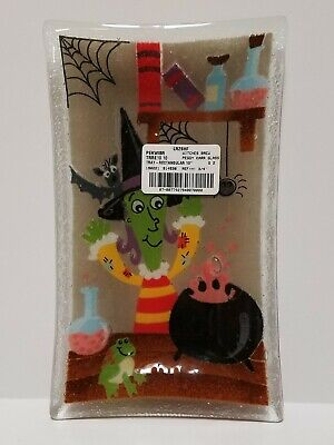 Peggy Karr fused glass HALLOWEEN WITCH PLATE cauldron potion 10 x 6