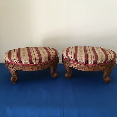 Attractive Pair of 2 Small Antique French Carved Footstools Stools