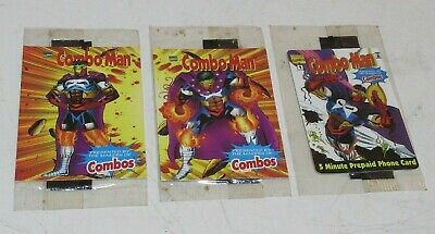 LOT of 3 Combo Man Factory Sealed Card; Combos 1996 EXPIRED, Prepaid Phone #1, 3
