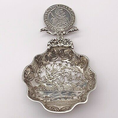 Antique Solid Silver German Large Mote Or Sugar Sifter Spoon Cut Work Coin Top