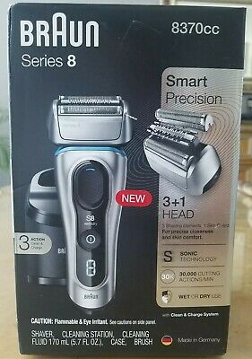 Braun Series 8 Electric Shaver 8370CC with Clean & Charge System Case NEVER USED
