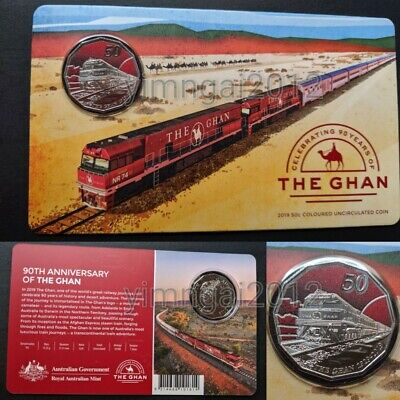 Mint SOLD OUT! 2019 Coloured 50c 90th Anniversary of The Ghan Train in Mint Pack