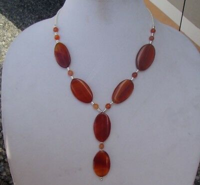Handmade Y Necklace of Red Agate Stone Oval Beads and Silver Plated Tube Beads