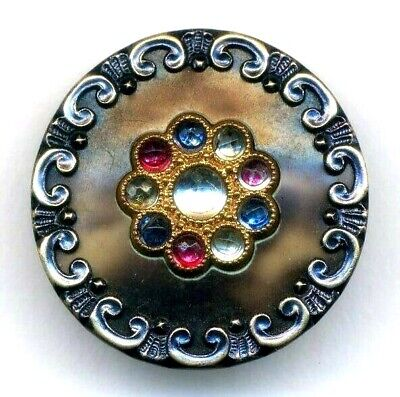 Antique Button…Extra Pretty Large Victorian Celluloid, Colored Glass Perforates