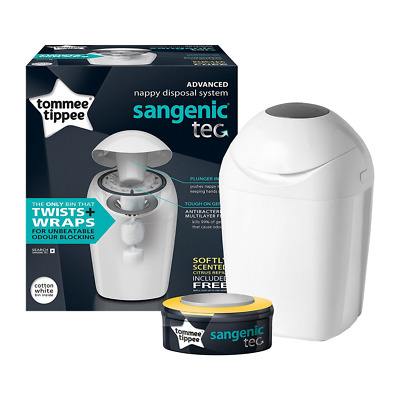 NEW Tommee Tippee Sangenic Tec Nappy Disposal Tub Bin - White - WITH 1x REFILL