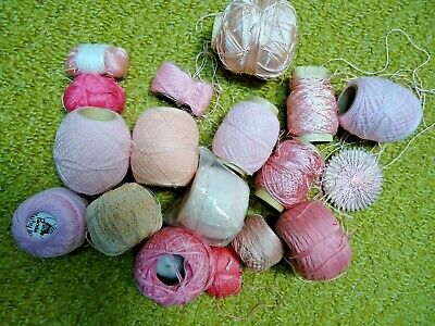 Pink Crochet Thread. Bundle. Various shades and lengths.