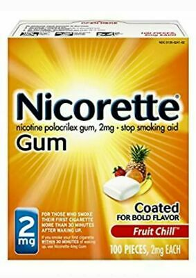 Nicorette Nicotine Gum 2 mg, Coated Fruit Chill Flavor 100 Pieces (READ EXP DATE
