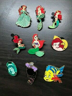 Little Mermaid Disney Pin Lot of 9 Hidden Mickey Cast Lanyard and First Release