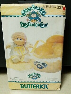 Vtg 1984 Uncut Cabbage Patch Kids Bed Carrier Butterick Sewing Pattern # 337