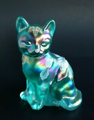 "Fenton Blue Iridescent Cat Art Glass Hand Painted Signed 3 3/4"" Mint"