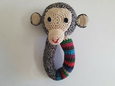 Anne-Claire Petit Amsterdam the Netherlands Knitted monkey rattle toy VGC