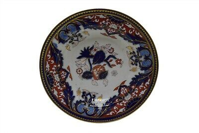 "Antique Ashworth Bros Ironstone Cobalt Blue Rust Gold 10.5"" Rimmed Soup Bowl"
