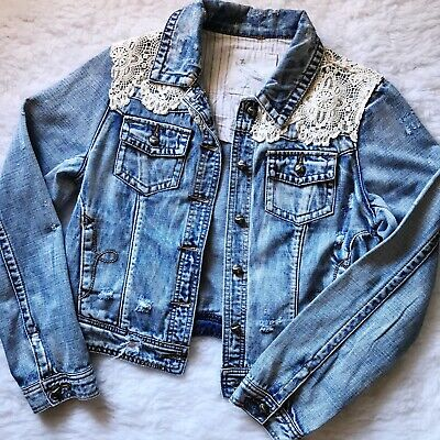 Multi Color Lace Overlay Jean Jacket Many Sizes 240535RM DENIM /& CO