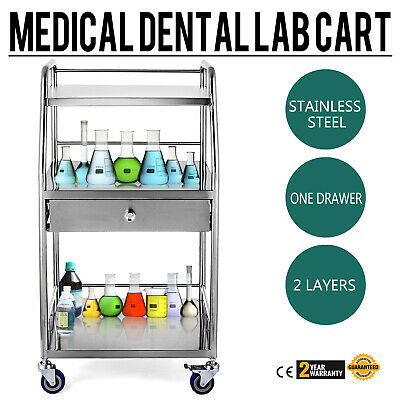 Mobile Rolling Cart 3 Layers 1 Drawer Trolley Lab Medical Cart W/ Upper Drawer