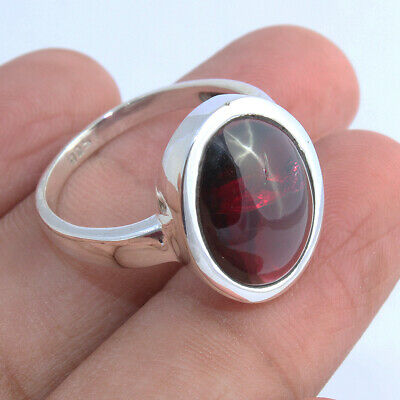 Large Oval Garnet Gemstone Solid Sterling Silver Ring Gift Jewelry - Size U