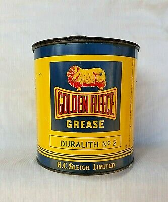 Exceptional Golden Fleece Cinemascope Five Pound Grease Tin Oil Can