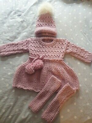 Hand knitted Girls Set Size 12 Months