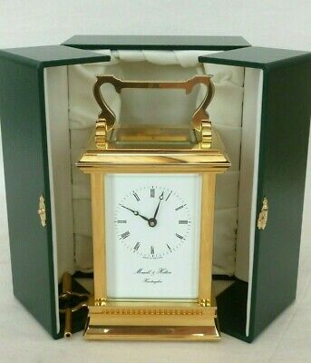 Superb Morrell & Hilton 8 Day Gold Plated Carriage Mantel Mantle Clock + Case