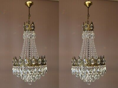 Two Antique Vintage Crystal Chandeliers in Brass, Ceiling Lighting, pendants