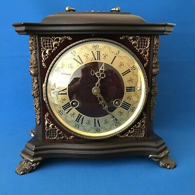 Victorian style chiming mantel case clock with key