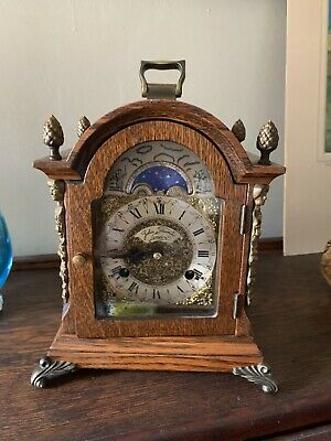 John Thomas Walnut Wuba Bracket Mantle Clock With Moonphase