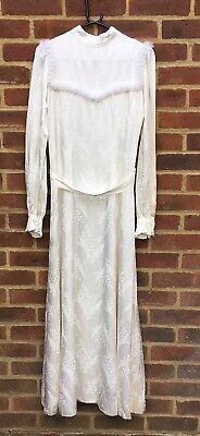 Vintage Ivory 40's Jacquard Fabric Wedding Dress Very Ellie Goulding 10 Small 12