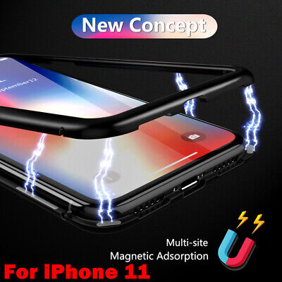 For iPhone 11 Pro Max XS XR 8 360° Full Magnetic Metal Tempered Glass Case Cover