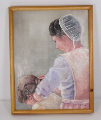 Antique Vtg Mother Daughter Oil Painting on Canvas Patricia Paulik 1997