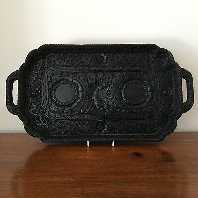 Antique ebony carved eastern serving tray peacock