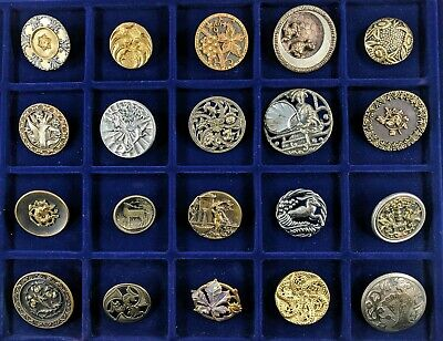 Antique Brass Button Collection Huge Lot Large Picture Openwork Victorian Animal