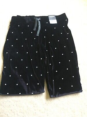 Girls Black Velour Sparkly Pearl Dots Leggings Aged 10/11 Years bNWT Party