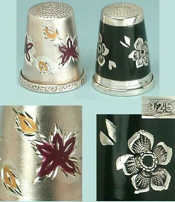 2 Vintage Enameled & Bright Cut Sterling Silver Thimbles * Germany * Mid 1900s