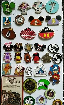 Authentic Collectible disney trading pins lot - 35 assorted pins - no doubles