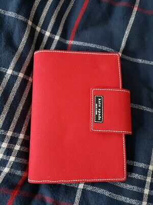 Vintage Red Canvas & Brown Leather Personal Planner