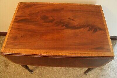 Antique George III  mahogany satin wood band pembroke table with draw