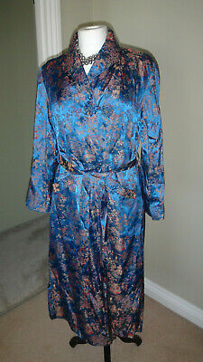 Stunning Oriental Satin Royal Blue Mix Wrap Dressing Gown - S/ M