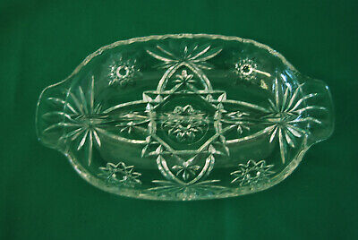 Anchor Hocking Star of David Pressed Glass Candy Dish Very Good Condition ++++++