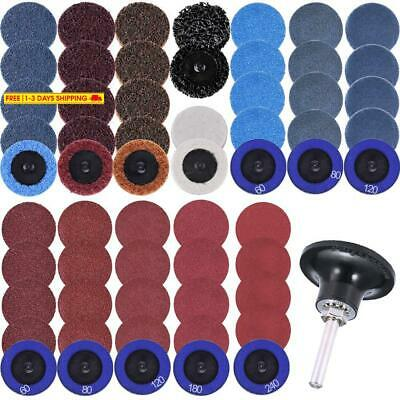 Siquk 60 Pcs Sanding Discs Set 2 Inches Quick Change Disc With 1/4 Inch Tray Hol