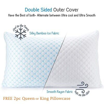 Cooling Memory Foam Pillow - Ventilated Soft Bed Pillow Infused with Cooling Gel