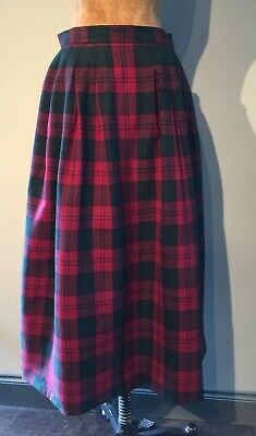 Vintage Viyella Box Pleated Lindsay Tartan Skirt 100% Wool W 28""