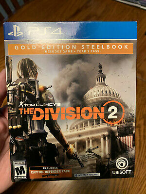 The Division 2 Steelbook - Gold Edition (Playstation 4, 2019) Season Pass, NEW