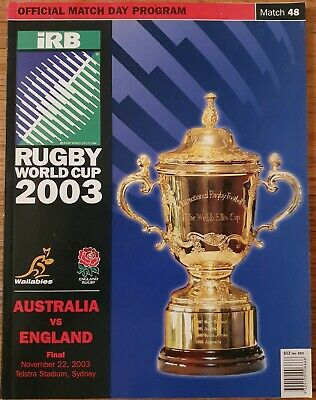 2003 Rugby World Cup Final Programme Australia vs England