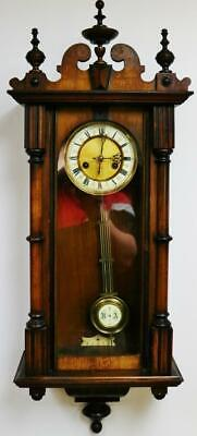 Small Antique German HAC 8 Day Gong Striking Carved Walnut Vienna Wall Clock