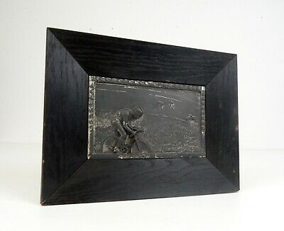 Antique German Framed Bicycle Cycling Wall Plaque Art Deco 1930